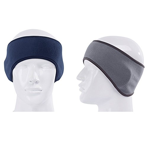GoYonder Fleece Thermal Headbands Ear Warmers Navy Gray (Fleece Womens Headband)