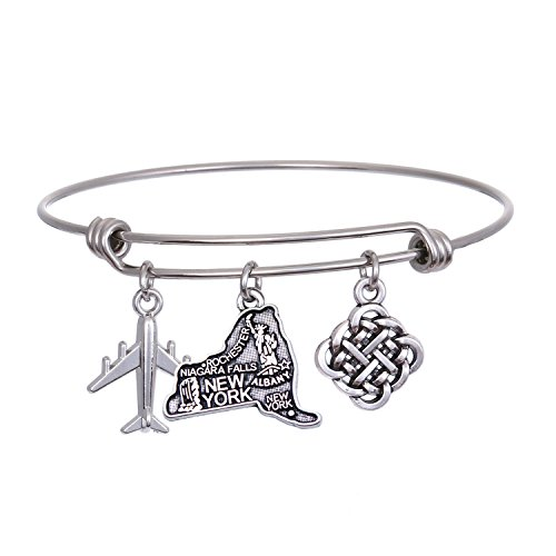(JJTZX State Bangle U.S. Map Charm Expandable Travel Bracelet Long Distance Relationship Gift Best Friends Bracelet (New York))