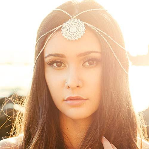 ShuangHong Jewelry Personality Fashion Street Beat Flower Plate Tassel Headband Hair Accessories Women