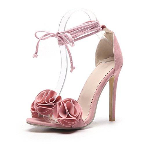 Zapatos de Mujer PU 2018 Nuevo Sexy Tacón Fino Ultra Alto Talón de Gran Tamaño Código 34-52 Zapatos Open Toe Ladies Boda/Fiesta y Noche Sandalias de Verano (Color : Rosado, Tamaño : 37)