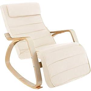 TecTake 800795 Fauteuil à Bascule Chaise Berçante Rocking Chair Repose-Pied Réglable en 5 Positions Bois Confortable – Diverses Couleurs (Beige)