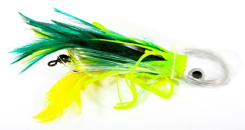 Boone Feather Trolling Double Hook Jig, Green/Yellow, 6-Inch