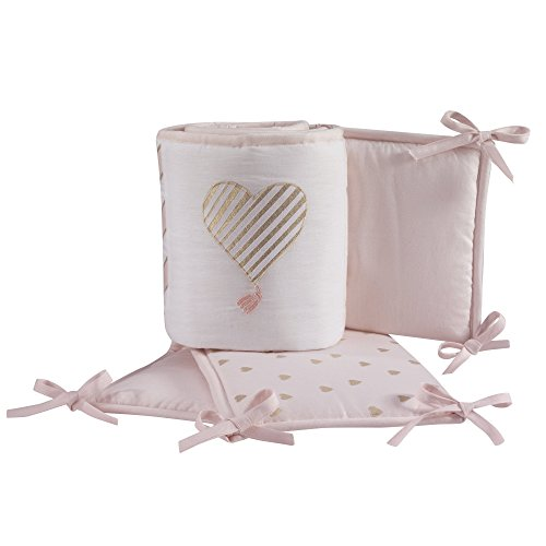 (Lambs & Ivy Baby Love 4-Piece Crib Bumper Pads- Pink/Gold/White with Hearts)