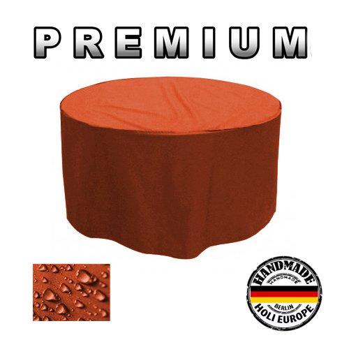 PREMIUM Gartentisch Abdeckung Gartenmöbel Schutzhülle RUND ø 215cm x H 90cm Orange