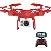 Rc Quadcopter Drone With Fpv Camera,Hongxin Professional 110° Wide Angle Lens HD Camera Quadcopter RC Drone WiFi FPV Live Helicopter Hover With Remote Control,2MP HD Camera Quadcopter (red)