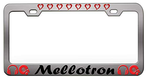 Mellotron Music And Instruments Chrome Steel Metal License Auto Tag, License Plate Frame