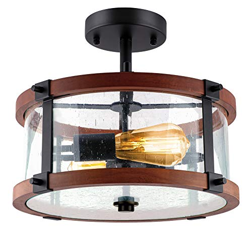 ROTTOGOON Semi Flush Mount Ceiling Light, 13 Inch 2-Light Rustic Vintage Wood Ceiling Light Fixture with Clear Seeded Glass Shade for Entryway, Hallway, Foyer, Dining Room, Living Room