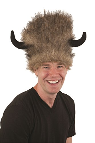 Adult Faux Fur Brown Bison Buffalo Hat With Horns