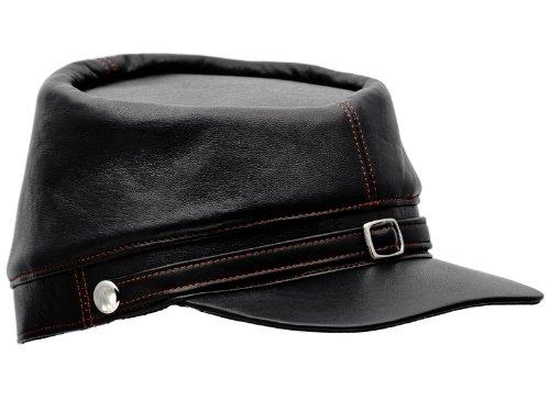 Sterkowski Genuine Leather Secession Kepi Civil War Cap US 7 3/4 Black