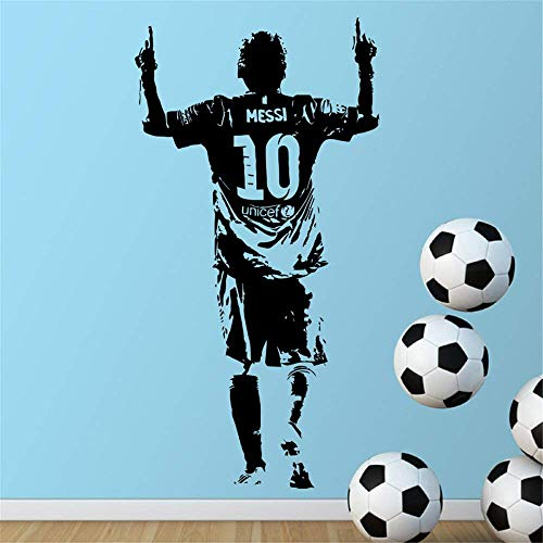 ynisan Vinyl Wall Decal Wall Stickers Art Decor Peel and Stick Mural Removable Decals Lionel Messi Figure Football Star for Boys Room
