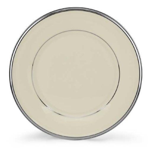 Ivory China Salad Banded Plate - Lenox Solitaire Platinum Banded Ivory China Salad Plate