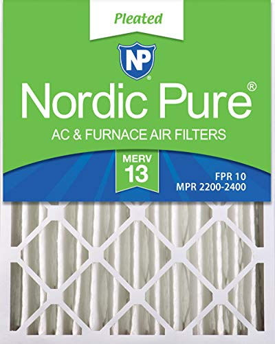 Nordic Pure 20x25x4 (3-5/8 Actual Depth) MERV 13 Pleated AC Furnace Air Filter, Box of 2 ()