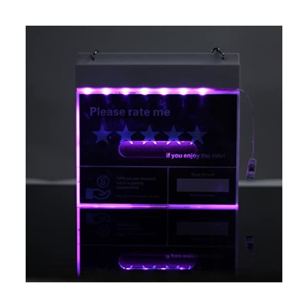 Light Up 5 Star Uber Rating Sign Lyft Accessories With Glow Uber Lyft DecalsBy WildAuto Black 7Colors White Board