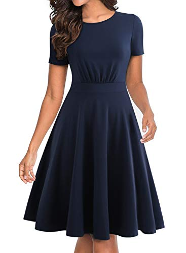 BOKALY Women Vintage Plus Size Party Church Swing Casual Dress Classic Summer Fit and Flare Stretchy Knee-Length Empire Waist Short Sleeve Swing Dress Women's Dresses (XL, -