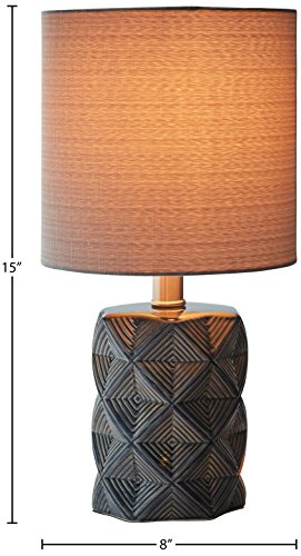 "Rivet Geo Modern Black Ceramic Living Room Table Desk Lamp With LED Light Bulb - 15 Inches, Grey - Geometric shapes in shades of grey and black give this lamp's ceramic base a modern feel, while a fabric drum shade, also in grey, gives it a classic hint. This lamp will add pleasing ambient light to transitional or modern décor. 8"" Diameter x 15""H Ceramic base, grey fabric shade - lamps, bedroom-decor, bedroom - 41SlCNQMNHL -"