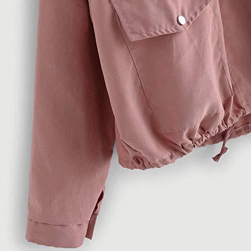 Primaverile Rosa Donna Stlie Moda Elegante Cappotto Bottoni Outerwear Hipster Giaccone Con Giacca Grazioso Di Chiusura Sciolto Lunga Monocromo Casuali Autunno Tasche Manica zBqwdd1fx