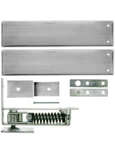 Standard Duty Swinging Door Floor Hinge with Plated-Steel Cover Plates in Satin Chrome