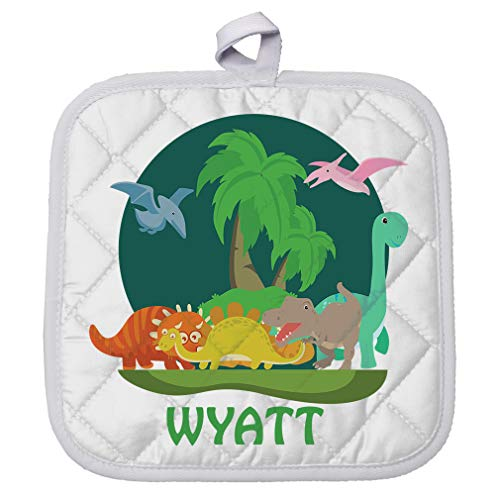 Personalized Custom Text Dinosaurs Polyester Pot Holder Trivets