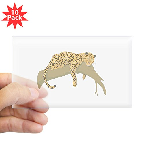 CafePress - Lazy Leopard Rectangle Sticker 10 Pk) - Rectangle Bumper Sticker (10-pack), Car (Lazy Leopard)