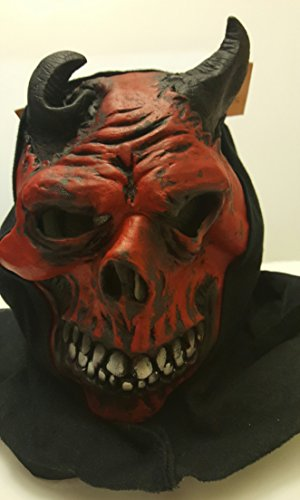 Halloween Red Black Mask Grisly Ghoul Adult Horror Scary Mask Red Swamp Monster