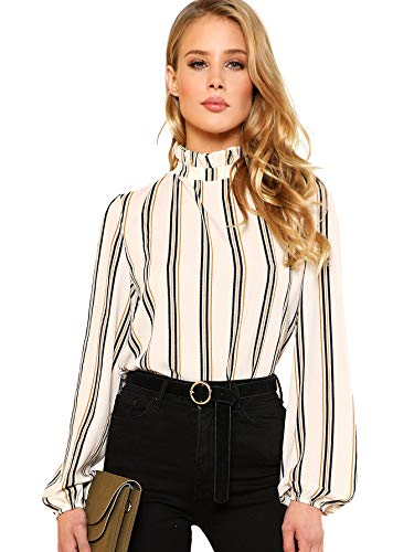1e81a033764a Romwe Women s Elegant Striped Stand Collar Workwear Blouse Top Shirts White  Medium