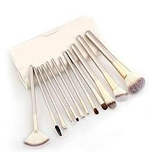 Molie 12Pcs Professional Makeup Brush Set with PU Case, Wooden Handle Cosmetic Brushes Kit Kabuki Foundation Powder Brush Eyeshadow Eyeliner Makeup Brushes Tools