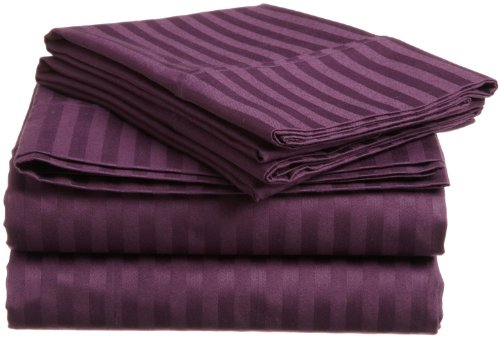 Delray 600 Thread Count 6 Piece King Size Sheet Set in Plum Stripe Delray Stripe