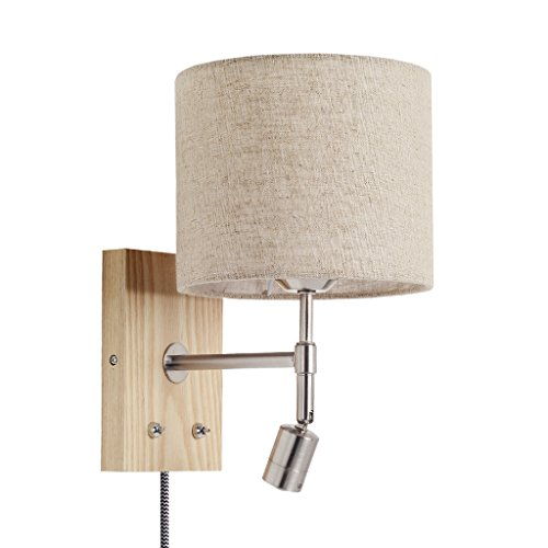 - LIZHIQIANG Bedside Lamp, Reading Lamp, LED Bedroom Living Room Aisle Simple Modern Nordic Switch Line Solid Wood Wall Lamp ( Color : Log color ribbon plug line )
