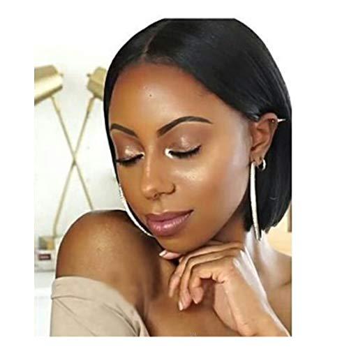 Dumanfs Lady Girl Black Bob Wig Women'S Short Straight Bangs Full Hair Wigs Cosplay 10 Inches (Cute Emo Girl With Long Black Hair)