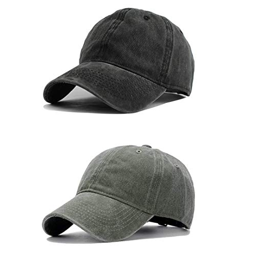 (Unisex Vintage Washed Distressed Baseball-Cap Twill Adjustable Dad-Hat (Z-2pc (Black+Army)