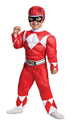 Disguise Red Ranger Toddler Muscle Child Costume, Red, -