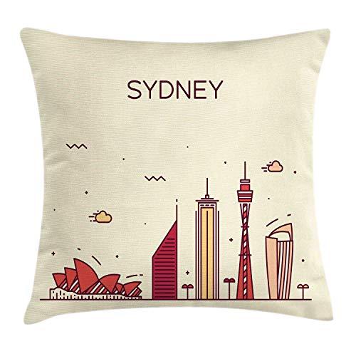 Lunarable Sydney Throw Pillow Cushion Cover, Doodle Skyline of Australia Capital City Landmark Buildings Travel Print, Decorative Square Accent Pillow Case, 16