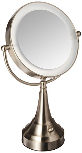 Zadro 10x Mag Next Generation LED Cordless Double Sided Round Vanity Mirror, 11-Inch, Satin Nickel Finish
