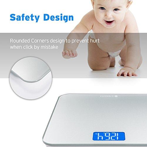 ETEKCITY EB4887S Báscula de Baño Digital de Alta Precisión, 5kg - 180kg, Elegante Plataforma de Vidrio Templado y Gran Pantalla LCD, Cinta Métrica Incluida, ...
