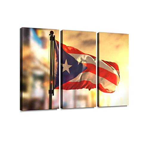 LanimioLOX Puerto Rico Flag Against City Blurred Background at Sunrise Backlight 3 Pieces Print On Canvas Wall Artwork Modern Photography Home Decor Unique Pattern Stretched and Framed