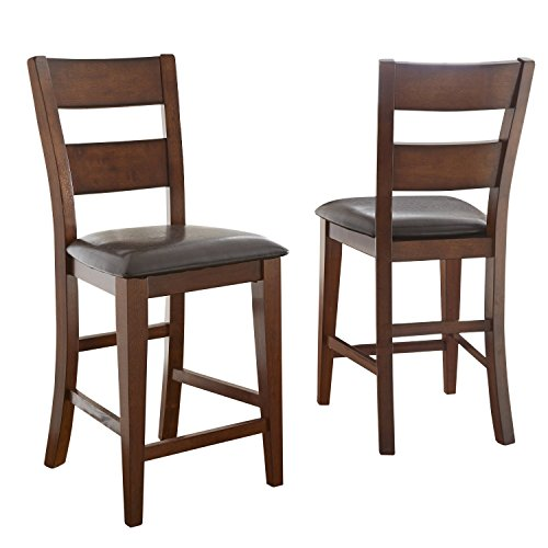 Dark Vinyl Counter-Height Barstool Dining Chairs in Warm Brown (Set of 2) by Lauren Wells