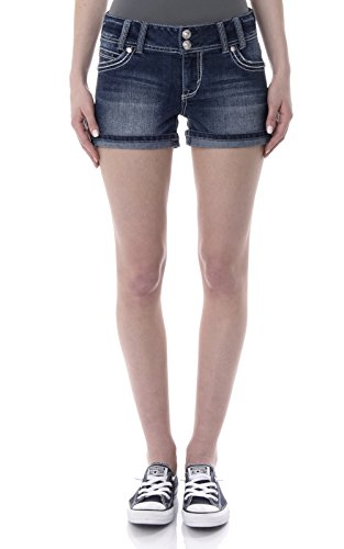 WallFlower Womens Juniors Luscious Curvy Bling Embellished Back Pockets Shorty Shorts (More Colors)