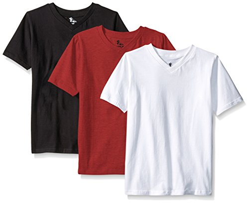 American Hawk Big Boys 3 Piece Pack V-Neck T-Shirt, Marled Dark Red/White/Black, 8 (V-neck Hawk)