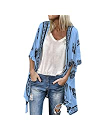 HTDBKDBK Kimono Cardigan for Women Fashion Boho Printed Sunscreen Half Sleeve Loose Sheer Chiffon Cardigan