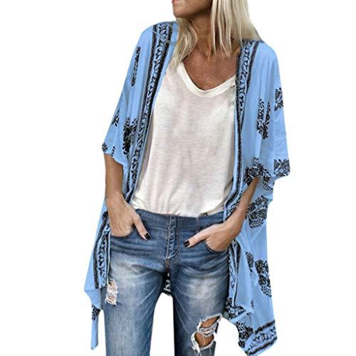 (Willow S Women Fashion Casual Boho Floral Printed Tops Blouse Sunscreen Half Ruffle Sleeve Loose Sheer Chiffon Cardigan Blue)