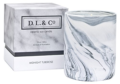 D.L. & Co. DL-2070 Midnight Tuberose Marble 12oz Candle, Grey, 12 oz (Scented Candle Tuberose)