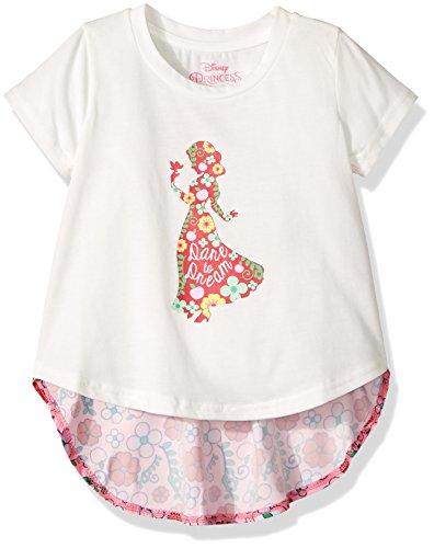 Disney Toddler Girls' Princess Chiffon Back T-Shirt, Snow Wh