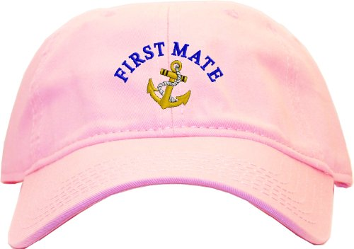 First Mate with Ships Anchor Embroidered Low Profile Ball Cap - Pink (Anchor Ball Cap)