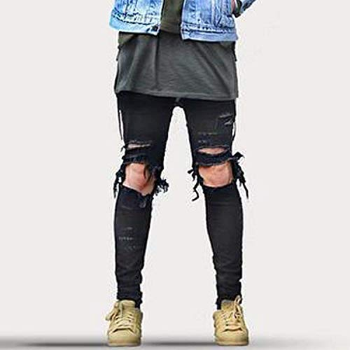 Da Nero Giovane Fori Ginocchio Fit Scarni Uomo Leggings Casual Street Al Pantaloni Distrutti Wear Slim Jeans Look Usati Con Cher Di dS8Rqqw