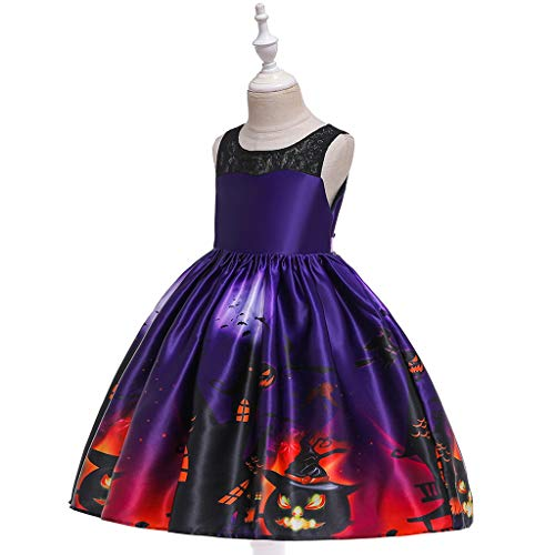MIS1950s Toddler Kids Girls Halloween Costumes Cartoon Print Princess Pageant Gown Party Dress (150, Muticolor)