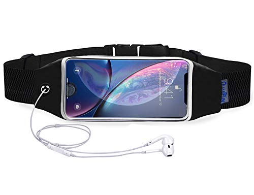 QUANFUN Compatible iPhone X/8 Plus/8/6/6s 7 Plus Running Belt Waist Bag, Fanny Pack Running Wristbands Sports Workout Fitness Holder Pouch Compatible Galaxy s8 s7 Plus,All UP to 6.4