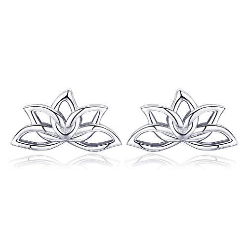 GOXO 925 Sterling Silver Earrings,Lotus Flower Earrings Jewelry Simple Chic Earrings Best Gift for Women Girls (Lotus Earrings)