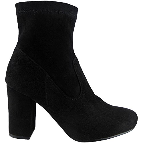 Womens Elastic Chelsea Chunky Heel Ankle Boots Size 3-8 STYLE NO: 3