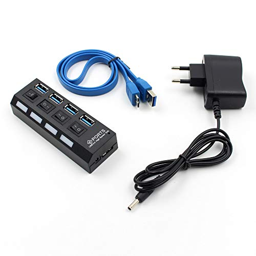 UMFun4 Port USB 3.0 Hub On/Off Switches+AC Power Adapter Cable for PC Laptop -