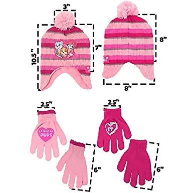 Nickelodeon girls Paw Patrol Character Hat And 2 Pair Mittens Or Gloves Cold Weather Set